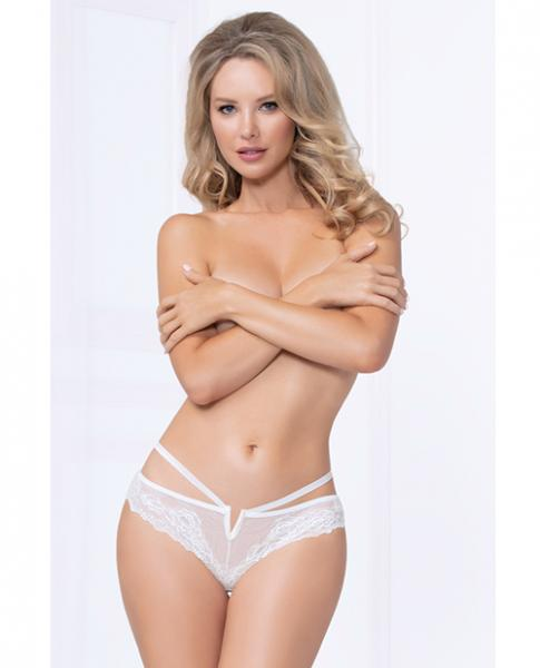 Strappy Lace Thong Plunging V Detail White Medium