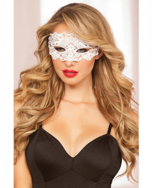 Lace Eye Mask Satin Ribbon Ties White O/S
