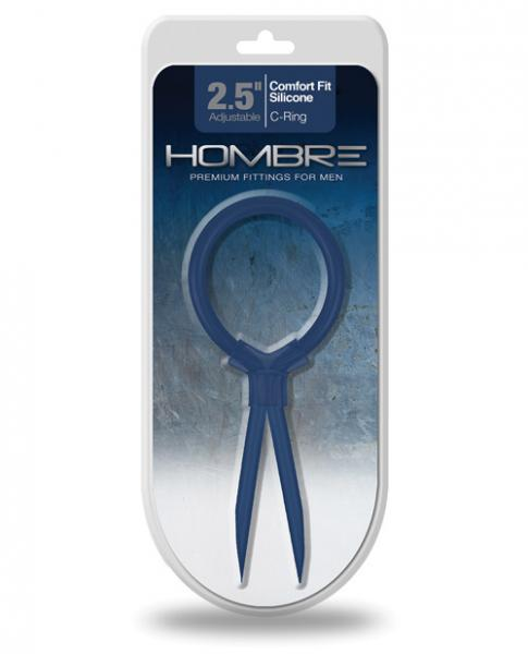 Hombre Comfort Fit Silicone Adjustable C Ring Navy Blue