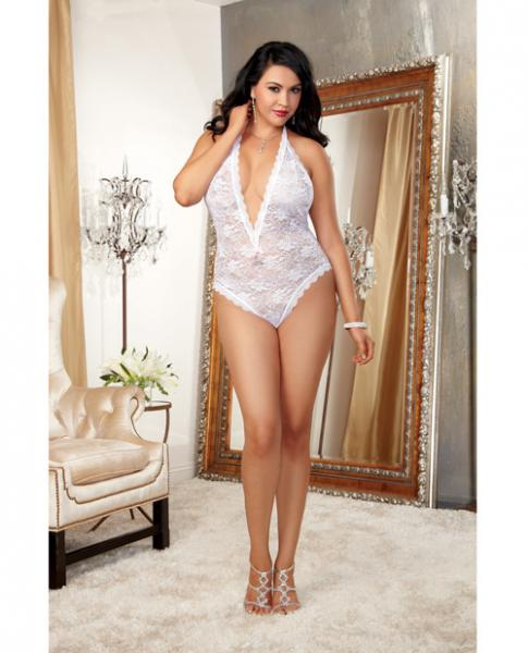 Halter Stretch Lace Teddy, Ties & Heart Cut Out White OQ