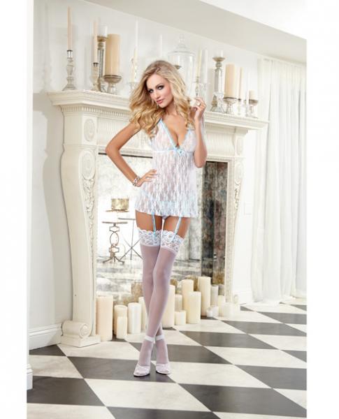 Stretch Lace Babydoll, Panty, Garter & Tulle Back White O/S