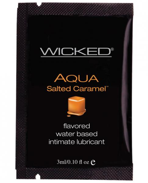 Wicked Sensual Care Collection Aqua Waterbased Lubricant - 3 ml. Packet Salted Caramel