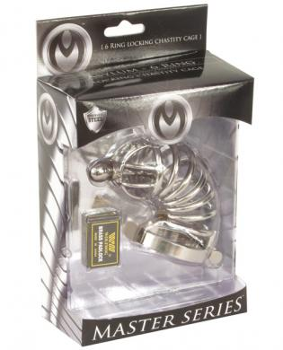 Master 6 Ring Locking Chastity Cage M/L