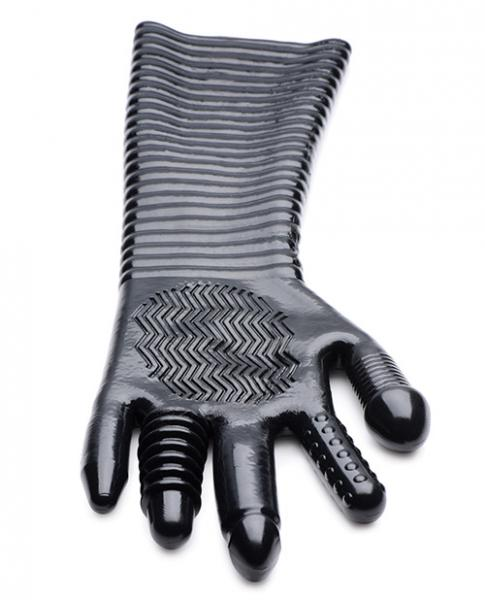 Pleasure Fister Extra Long Textured Fisting Glove Black