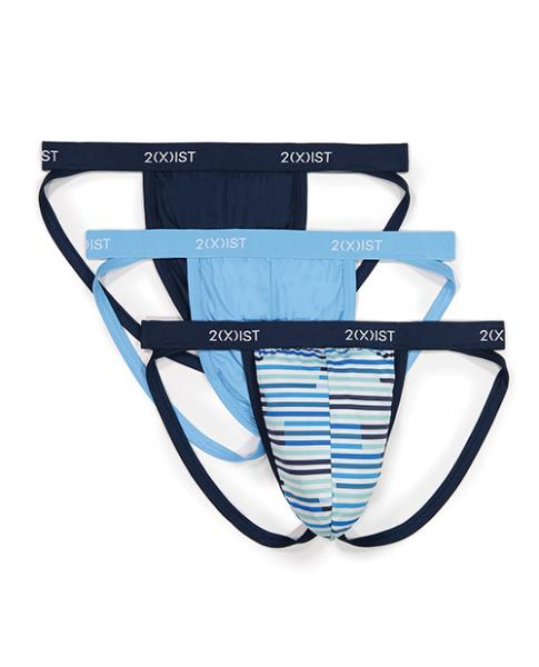 2xist 3 Pack Microfiber Jock Strap Navy, Stripe & Blue XL