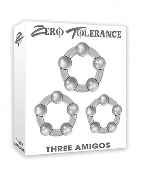 Three Amigos 3 Beaded Cock Rings Smoke