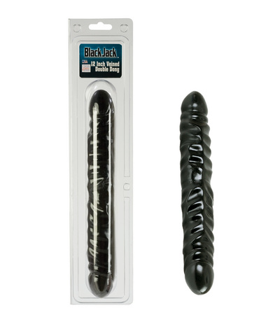 12 inch veined black double dildo