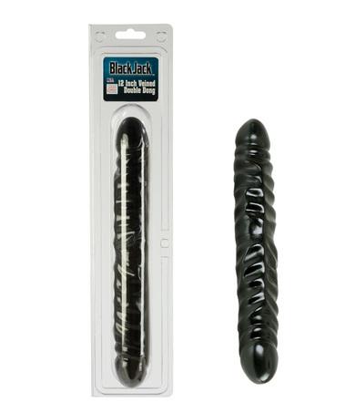 12 inch veined black double dildo