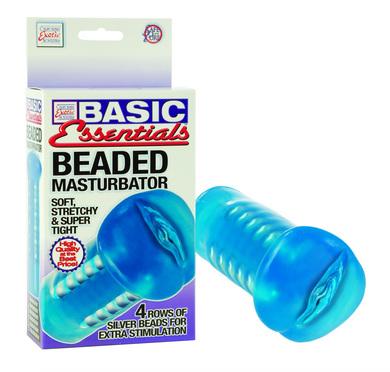 Basic Essentials - Beaded Masturbator Blue