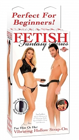 "6"" Vibrating Hollow Strap-On - Black"