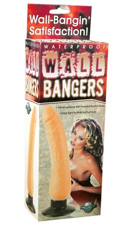 Waterproof Wall Bangers Beige Vibrating Dildo