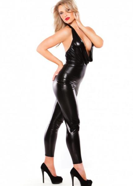Kitten Wet Look Cowl Neck Catsuit Black O/S