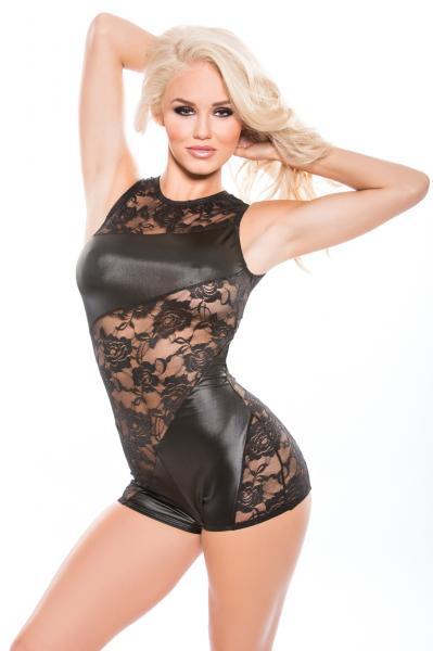 Kitten Lace & Wet Look Jumper O/S Black
