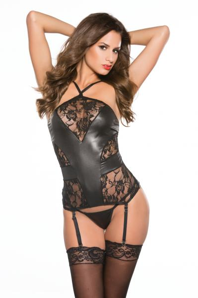 Kitten Lace and Wet Look Corset O/S Black