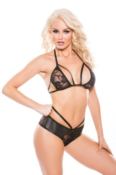 Kitten Lace & Wet Look Top and Shorts Set O/S