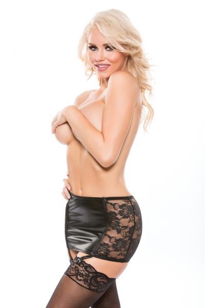 Kitten Lace Wet Look Garter Skirt O/S Black
