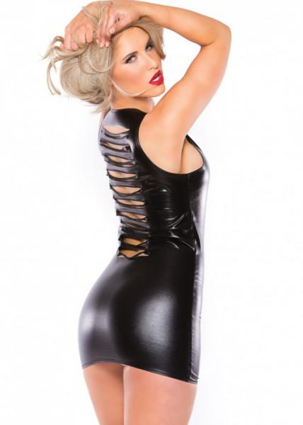 Kitten Wet Look Slashed Dress Black O/S