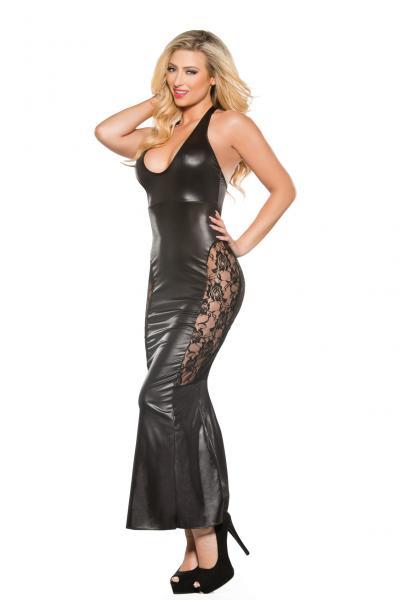 Kitten Wet Look Dress Black O/S