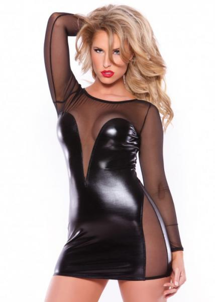 Kitten Wet Look & Mesh Dress Black O/S