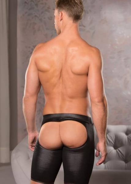 Zeus Wet Look Open Back Cut-A-Way Shorts L/xl