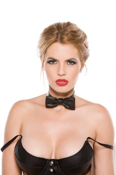 Black Faux Leather Bow Tie Collar O/S