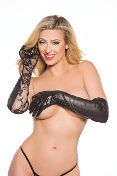 Kitten Lace & Wet Look Gloves O/S Black