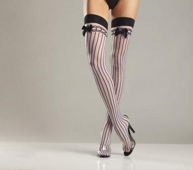 Spandex Sheer Stocking W/ Stripes and Satin Bows