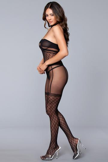 Halter Crotchless Bodystocking O/S Black