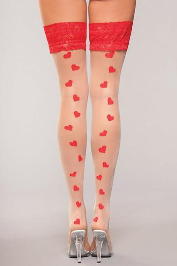 Lace Top Heart Hold Ups Thigh High Stockings O/S