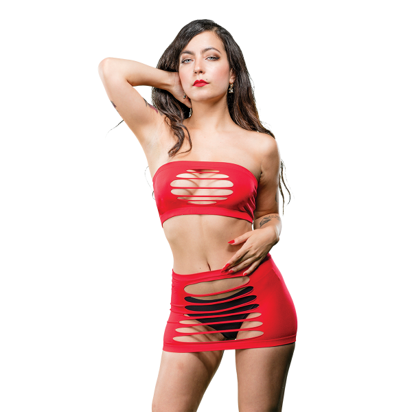 Naughty Girl 2 Piece Top & Skirt O/S Red