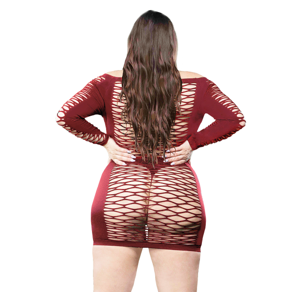 Naughty Girl Long Sleeves Mesh Dress Red Q/S