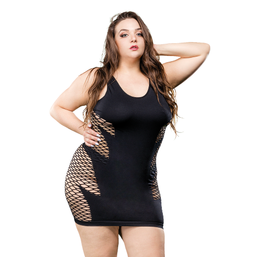 Naughty Girl Wild Leaf Dress Black Q/S