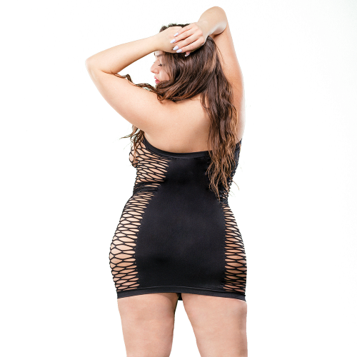 Naughty Girl Solid Mesh Tube Dress Black Q/S