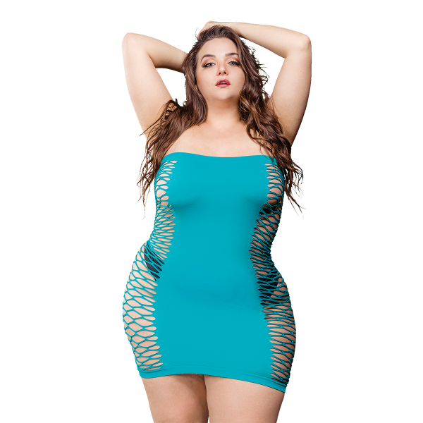 Naughty Girl Solid Mesh Tube Dress Blue Q/S