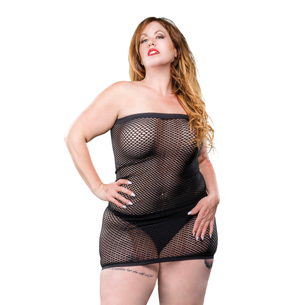 Naughty Girl Mesh Tube Dress Black Q/S