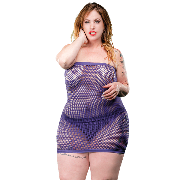 Naughty Girl Mesh Tube Dress Violet Q/S