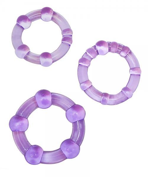 Beaded Elastomer C Rings 3 Pieces Pack - Purple