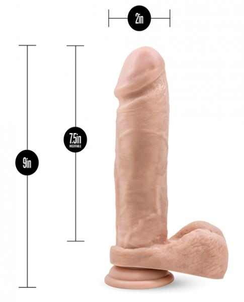 Silicone Willy's 9 inches Dildo, Balls & Suction Cup Beige