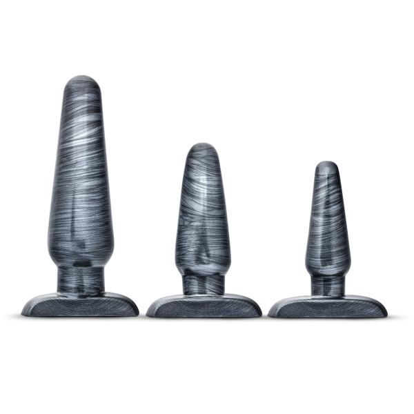 Jet Anal Trainer Kit Carbon Metallic Black 3 Butt Plugs
