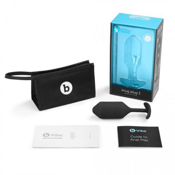 B-Vibe Snug Plug 3 Weighted 6.34 ounces Black