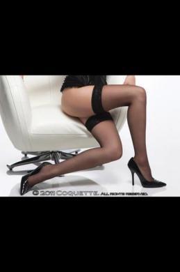 Sheer Thigh High W Lace Top Black Os/Xl