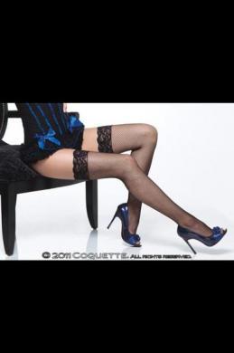 Fishnet Thigh High W/ Lace Top Black Os
