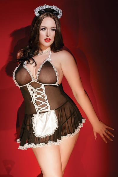 French Maid Babydoll Black White Bedroom Costume Xl