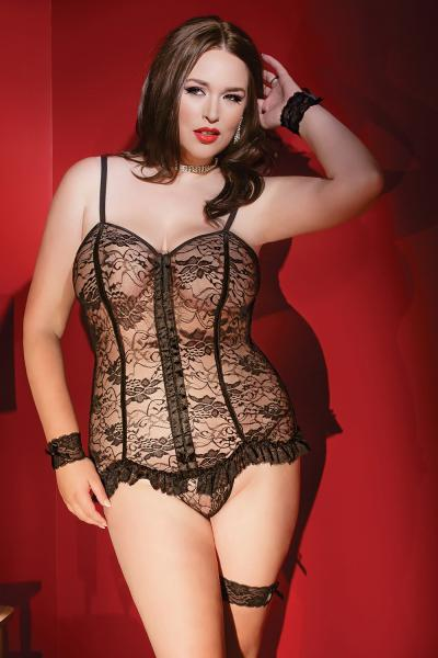 Coquette Corset Set Black XL