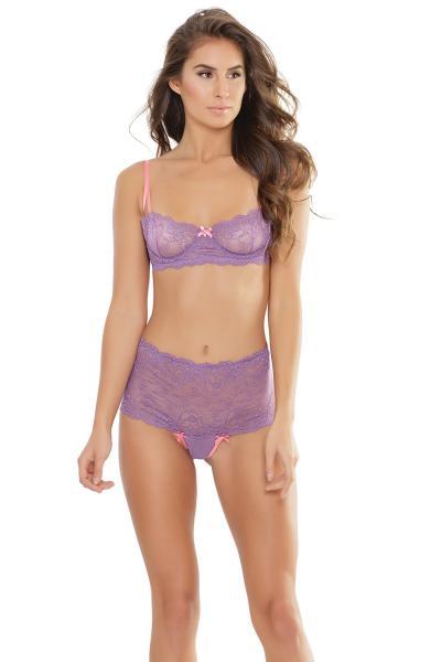 Bra & High Waist Thong Lavender Pink Large