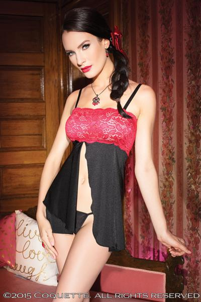 Babydoll Stretch Lace Black/Red O/S Sexy Wear CQ3721BLKRD
