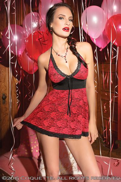 Babydoll Reversible Stretch Lace Black/Red O/S Sexy Wear CQ3726BLKRD