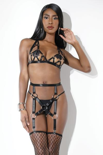 Harness Bra & Garter Belt Black O/S