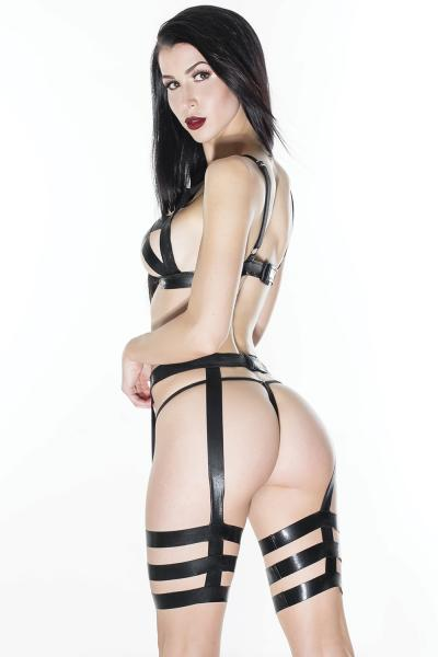 Wet Look Cross Triangle Top, Leg Harness Set O/S