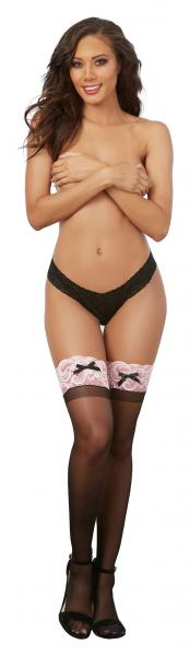 Thigh High Stockings Black Pink O/S